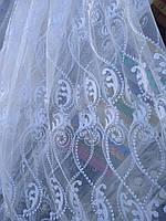 Турецкая тюль на фатине ширина 280 см сублимация узор 10 цвет белый