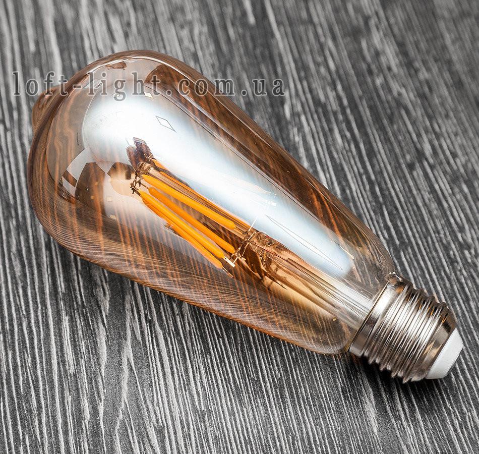 COW лампа Эдисона ST-64 LED  6W , 2700K Amber  DIMMABLE (диммируемая)