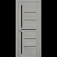 Дверь межкомнатная Диана дуб дымчатый 800 мм со стеклом BLK (черное), ПВХ Ультра.