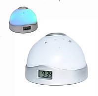 🔝 Проекционные часы-светильник с проекцией времени на потолок, часы-проектор, белые (9.5 см диаметр) | 🎁%🚚