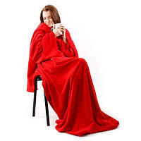 🔝 Плед с рукавами Snuggie (Снагги) Халат Одеяло, флисовый - Красный, доставка по Украине Киеву   🎁%🚚