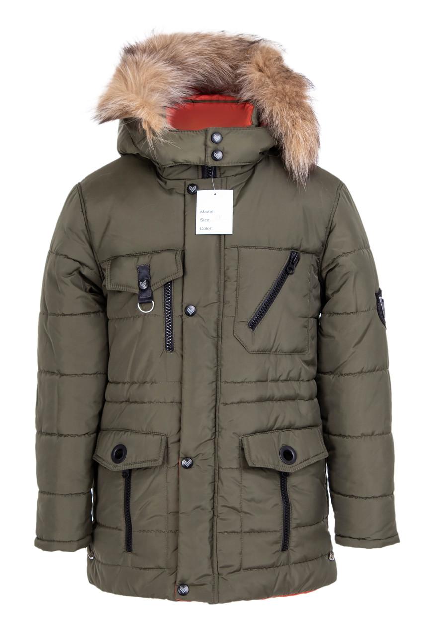 Зимняя куртка для мальчика  подростка      34-42 хаки