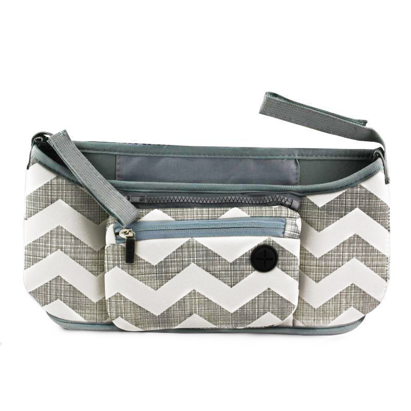 🔝 Сумка на ручку коляски, органайзер, Grab & Go, цвет - серый с узором волны   🎁%🚚