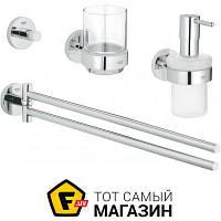 Держатель для полотенец, крючок, стакан, дозатор жидкого мыла для ванной - металл - Grohe Essentials Master 4в1 (40846001) - металлик шуруп