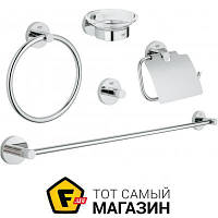 Держатель для туалетной бумаги, держатель для полотенец, крючок, мыльница для ванной, для туалета - металл, стекло - Grohe Essentials 5в1 (40344001) -