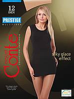 Жіночі  тілесні капронові матові колготки Conte PRESTIGE 12 з утягуючими шортиками ефект шовку 12 den