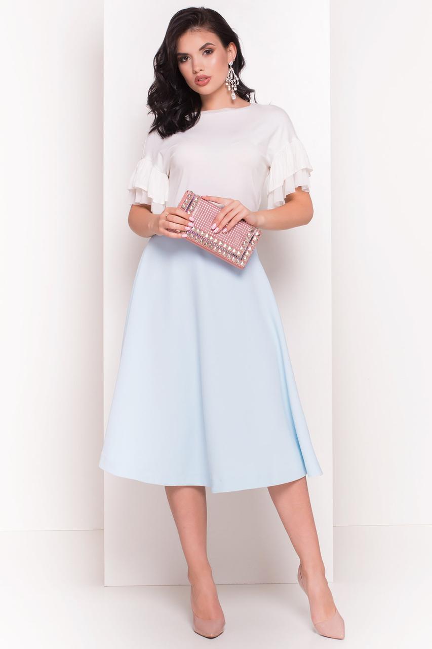 Женская невесомая блуза из вискозы с рукавами воланами (S, M, L) молоко