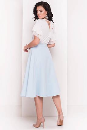 Женская невесомая блуза из вискозы с рукавами воланами (S, M, L) молоко, фото 2