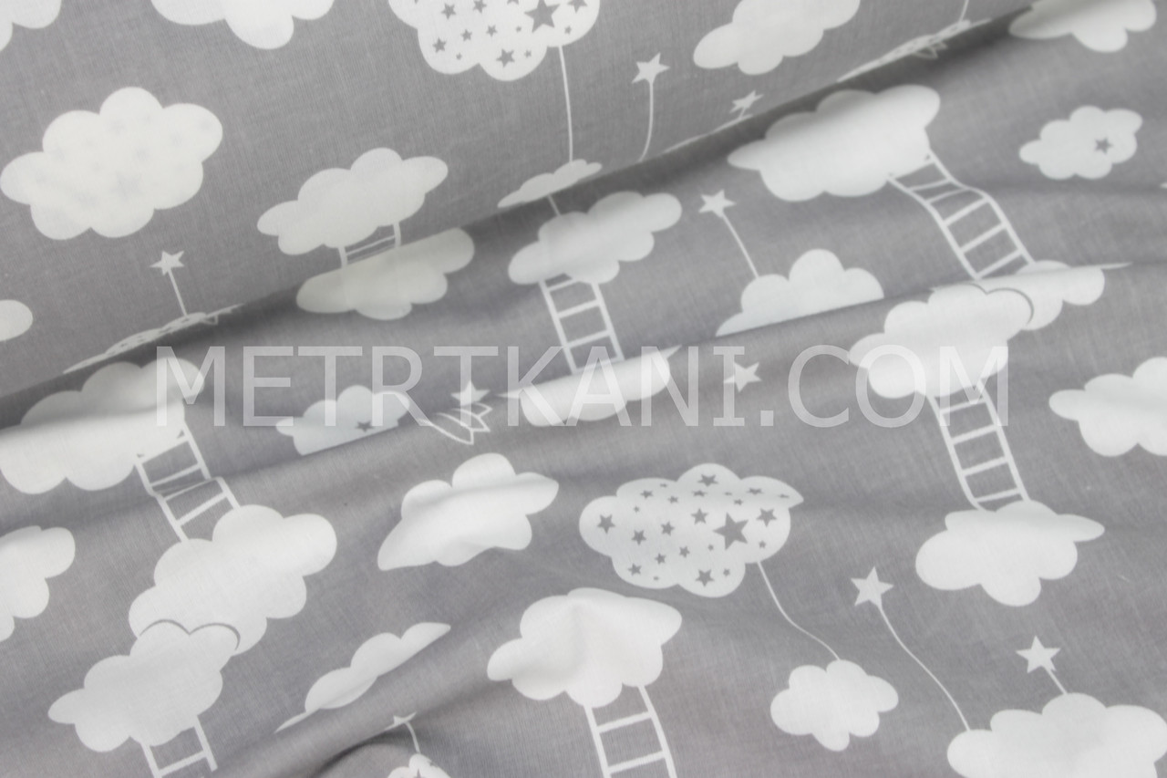 Ткань хлопковая: облака с лестницами на сером фоне