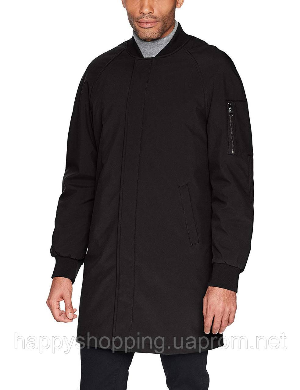 Мужской черный водоотталкивающий плащ пальто удлиненный бомбер  DKNY