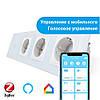 Сенсорный Wi-Fi выключатель Livolo ZigBee с тремя розетками белый стекло (VL-C701Z/C7C3EU-11)