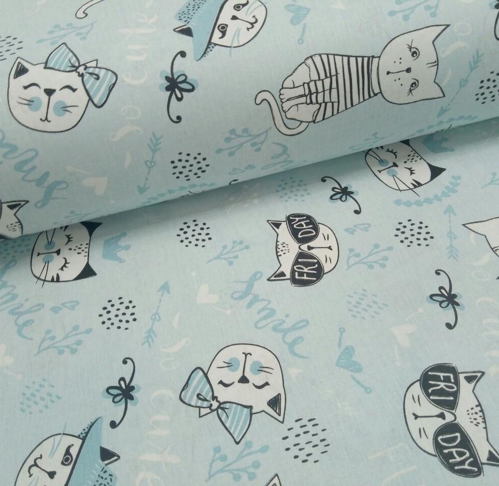 Хлопковая ткань (ТУРЦИЯ шир. 2,4 м) коты в очках на голубом