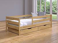 Буковая кровать  Нота Эстелла 80*190 с БОРТОМ безопасности и ящиками, магазин МК