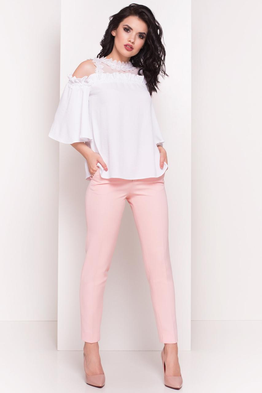 Женская соблазнительная блуза с открытыми плечами (S, M, L) белый