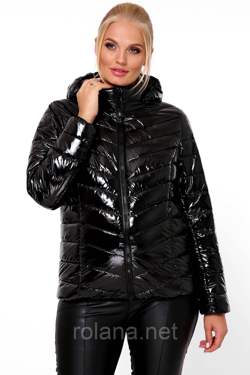 """Яркая женская куртка на молнии. """"Чёрный"""""""