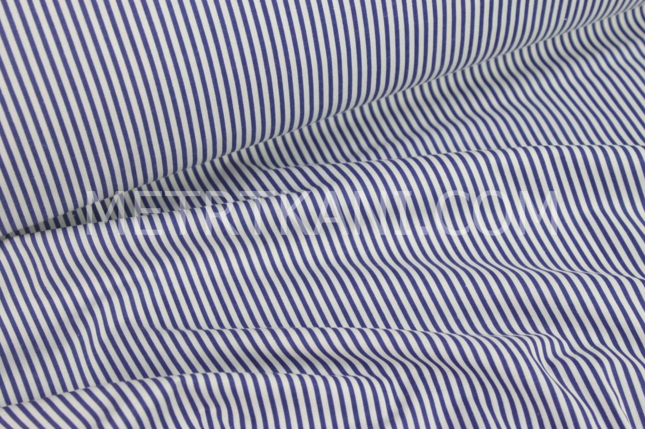 Ткань хлопковая узкая синяя полоска 125г/м2 №65