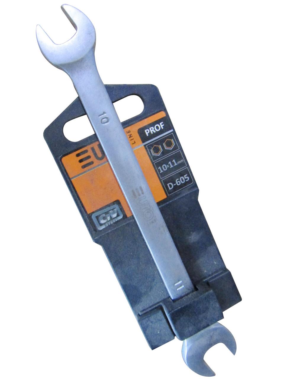 Ключ рожковый 10х11мм (EURO LINE) D605