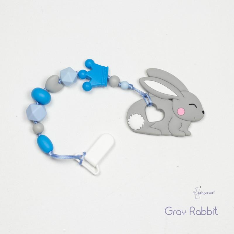 Грызунок из пищевого силикона BABY MILK TEETH Gray Rabbit