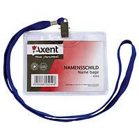 Бейдж Axent 4504-A горизонтальный, прозрачный, на шнурке, 113х105 мм