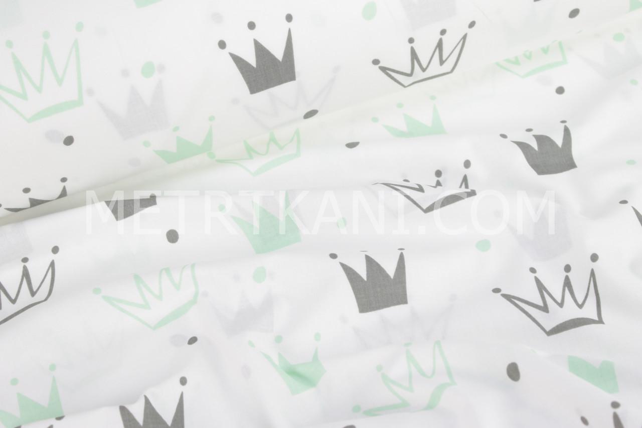 """Ткань хлопковая серые и салатово-мятные """"Короны"""" на белом №1027"""