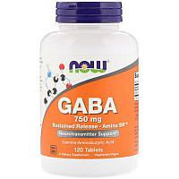 "Гамма-аминомасляная кислота NOW Foods ""GABA"" нейромедиатор, 750 мг (120 таблеток)"