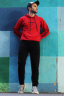 Мужской спортивный костюм  Off white красный, зебра с капюшоном!