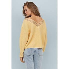 Женственный свитер с кружевом 44-46 (в расцветках)