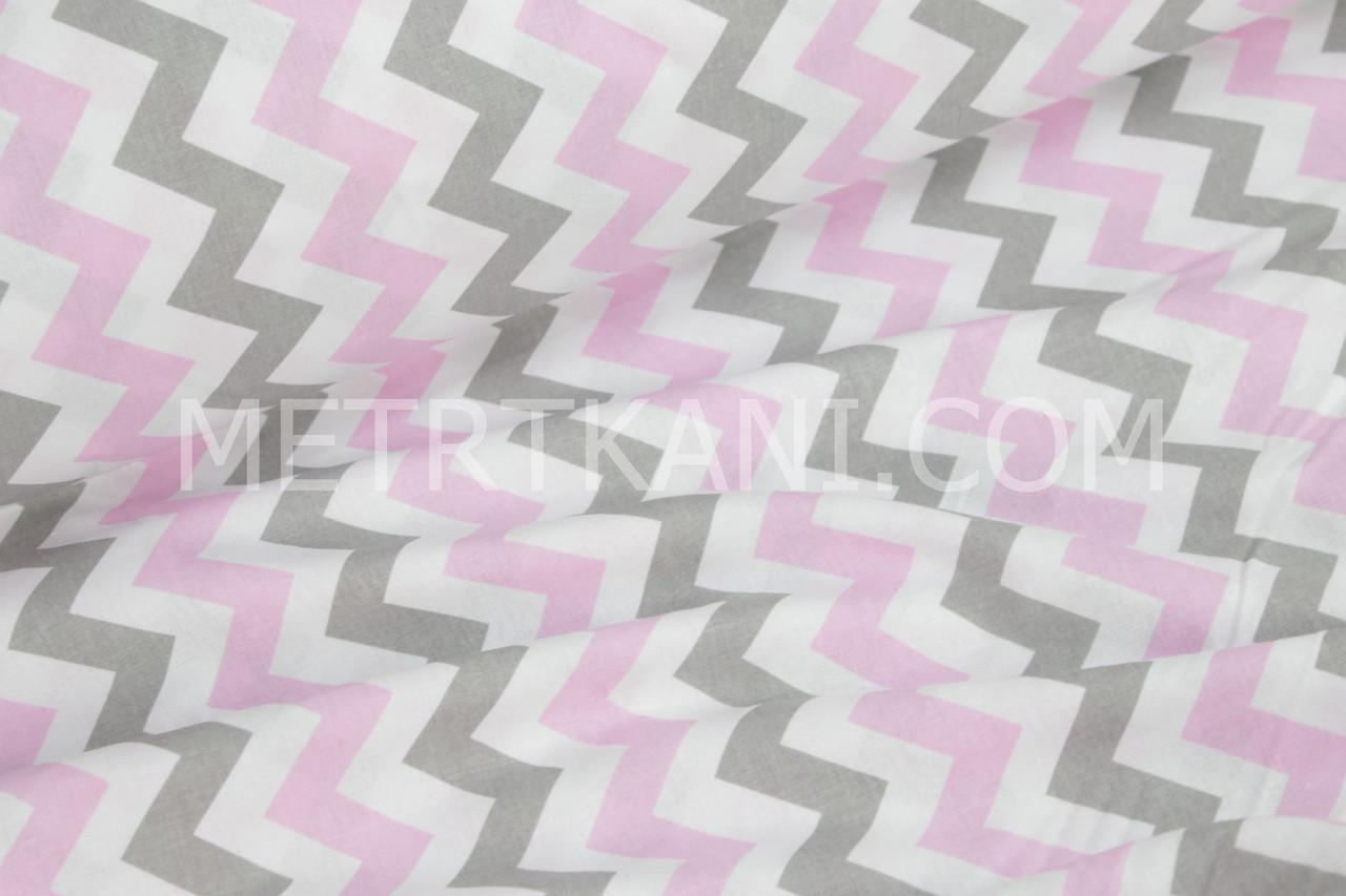 Польская бязь  серо-розовый зигзаг на белом  №792
