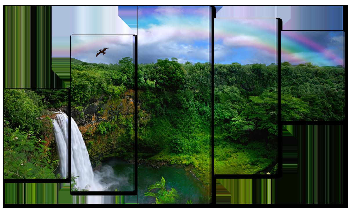 Модульная картина Interno Эко кожа Водопад в джунглях 142х80см (A1573L)