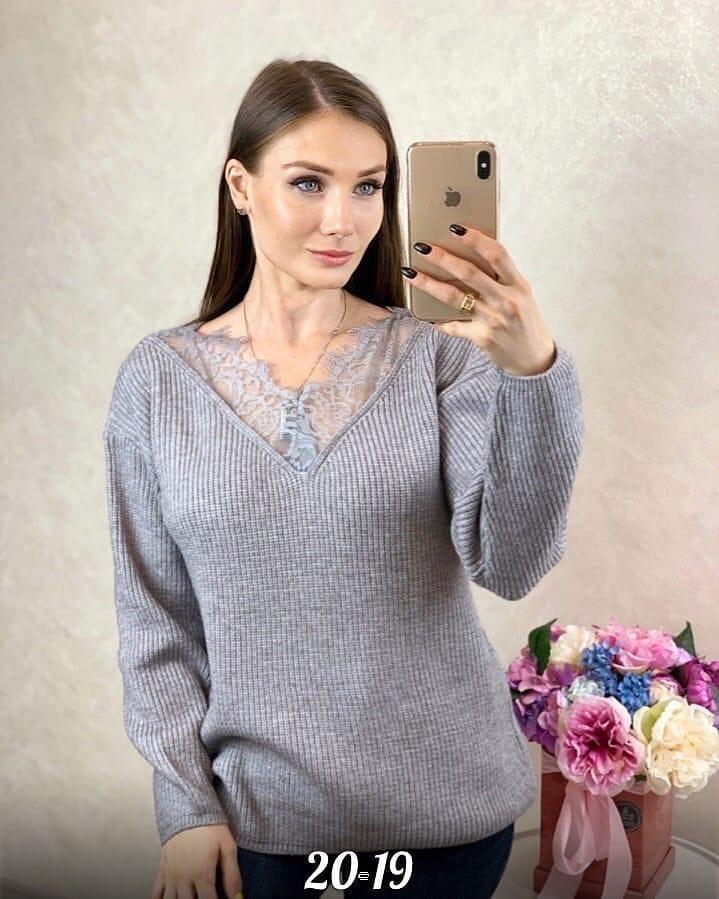 Женский свитер с V вырезом 44-46 (в расцветках)