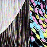 Штора ниткова з помпонами 250х280 см рожево-жовто-блакитна (вага 0,532 кг) (48906.001)