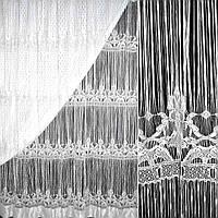 Штора ниткова з горизонтальним візерунком 300 х 300 см біла (48908.002)
