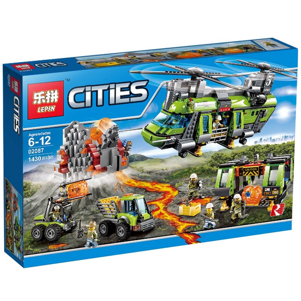 """Конструктор City Lepin 02087 """"Тяжёлый транспортный вертолёт Вулкан"""", 1430 дет"""