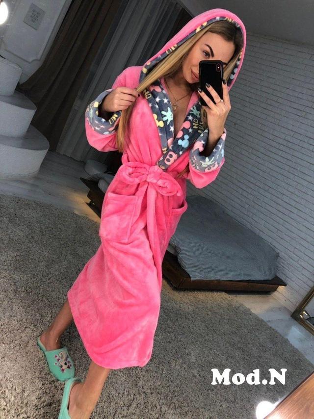 Банный халат женский длинный, плюшевая махра, от 42 до 50 размера