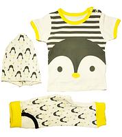 Костюм ясельный футболка штаны и шапка Пингвинчик  на рост 62- 68 см и 74- 80 см Турция