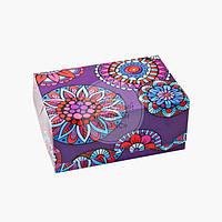 Упаковка для зефіру і еклерів - Фіолетові квіти - 180х120х80 мм