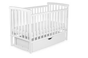Кровать детская Bimbi с опускной боковиной и ящиком, белый