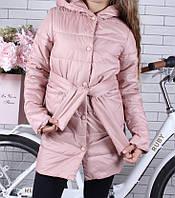 Пальто демисезонное подростковое для девочки стильное с поясом9-14лет,пудрового цвета