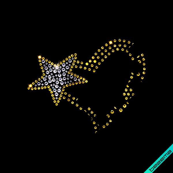 Дизайн из страз на комплекты Сердце (Стекло,2мм-жел.,4мм-жел.,4мм-зел.,3мм-зел.)