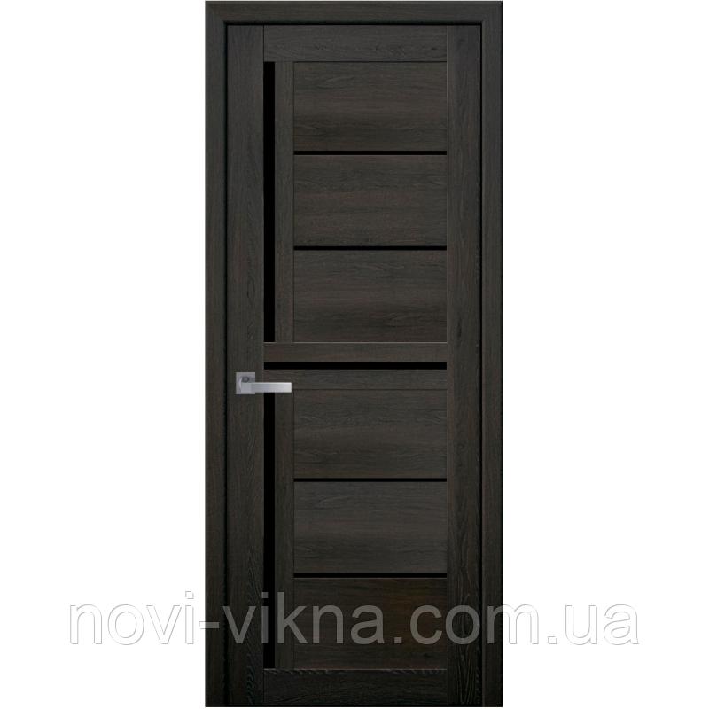Дверь межкомнатная Диана дуб мускат 900 мм со стеклом BLK (черное), ПВХ Ультра.