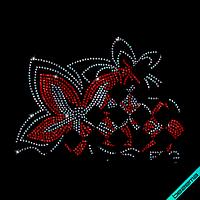 Стразы на регланы Цветок (Стекло,2мм-жел.,3мм-бенз.)