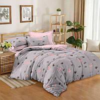 """Двухспальное красивое постельное белье из сатина""""Фламинго"""""""