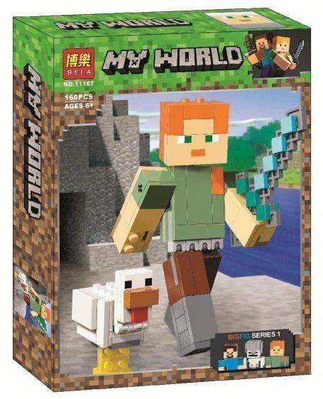"""Конструктор Minecraft Bela 11167 """"Алекс с ципленком"""", 160 дет"""