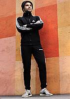 Мужской спортивный костюм Adidas черный.Кофта с капюшоном+штаны