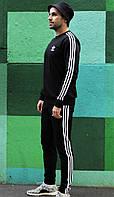 Мужской черный спортивный костюм Adidas.Кофта с капюшоном+штаны
