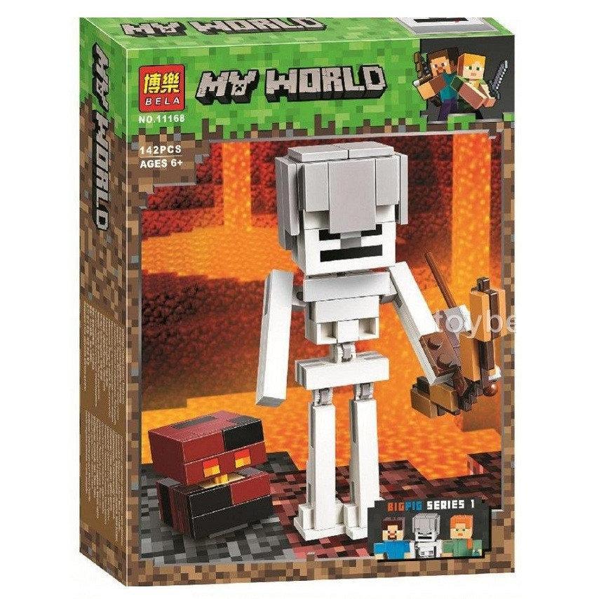 """Конструктор Minecraft  Bela 11168 """"Cкелет с кубом магмы"""", 142 дет"""