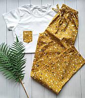 Женская хлопковая пижама со штанами в цветочек
