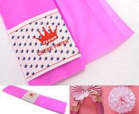 (50см х 1,8метра) Креп бумага, жатка, гофробумага (плотность 20гр/м) Цвет- Розовый, фото 1