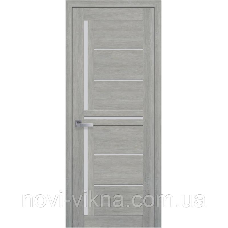 Дверь межкомнатная Диана дуб дымчатый 600 мм со стеклом сатин (матовое), ПВХ Ультра.
