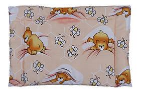 Подушка детская силиконовая, Мишки-пчелки розовый (бязь, хлопок 100%)